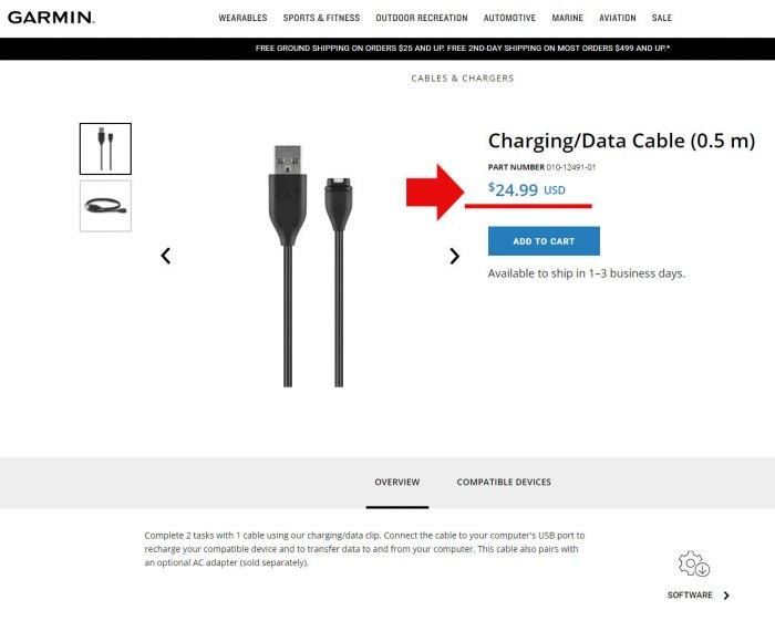 Фирменный USB кабель для часов Garmin