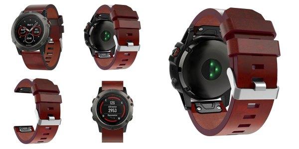 Кожаный ремешок для часов Garmin Fenix 6X / 5X / 5X Plus  / 3 / 3HR