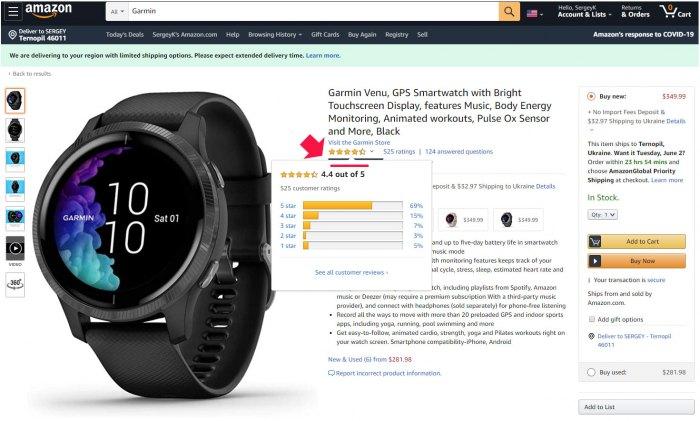 Рейтинг отзывов продавца в Amazon