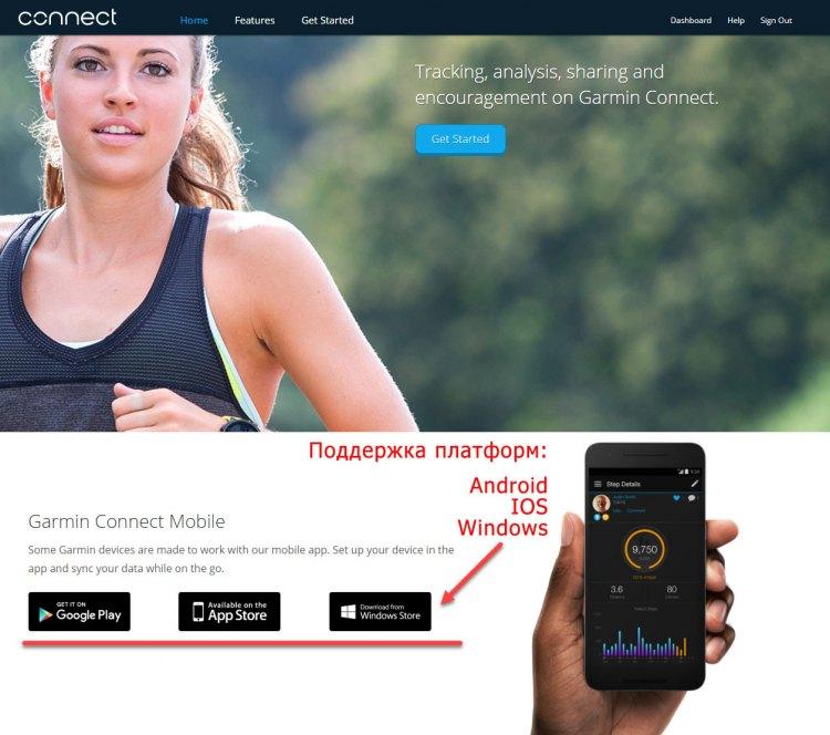 Garmin - Поддержка 3 ОС на мобильных телефонах