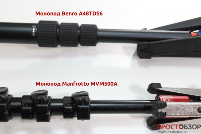 Крепление секций моноподов Manfrotto MVM500A и Benro A48TDS6
