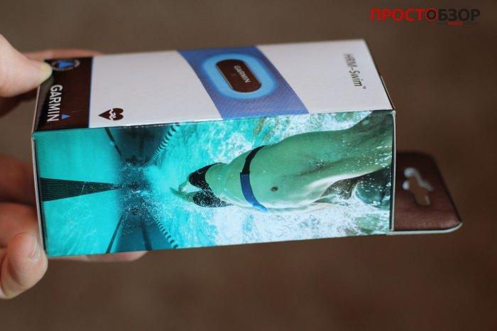 боковая часть коробки кардио-монитора для плавания Garmin HRM Swim