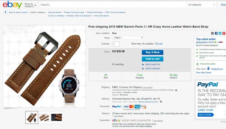 Кожаный ремешок часов Garmin Fenix 3 на eBay