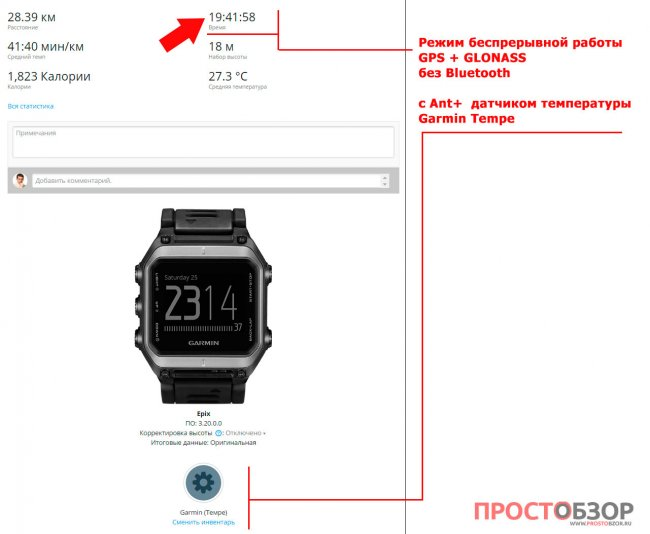 Данные теста аккумулятора (батареи) часов Garmin Epix