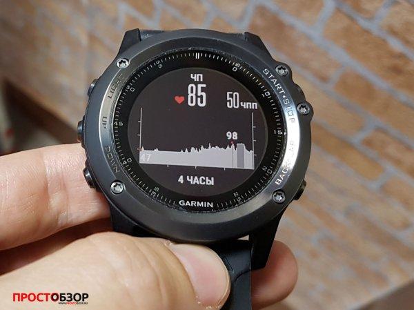 Стандартный виджет показаний пульса для часов Garmin Fenix 3 HR