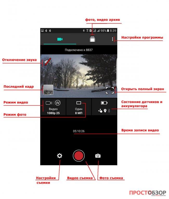 Элементы управление программы для экшн-камеры Garmin Virb Ultra30