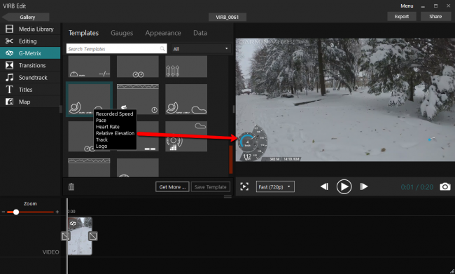 Данные с датчиков - G-Metrix на видео фрагменте