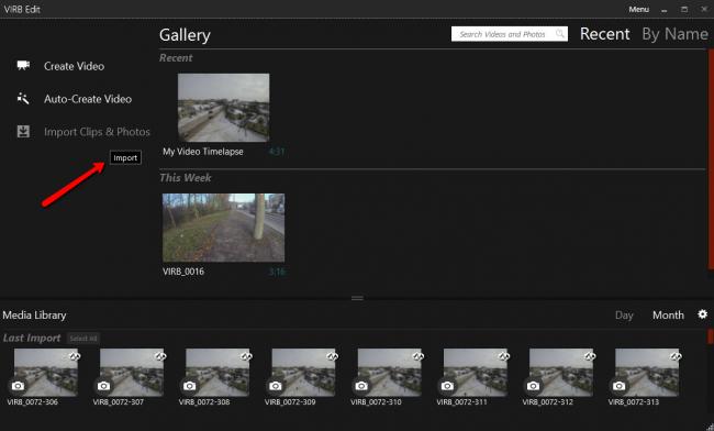 Импорт файлов из камеры Virb 30 в программу