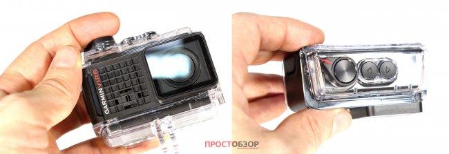 Кнопки управления подводного бокса экшн-камеры Garmin Virb Ultra 30