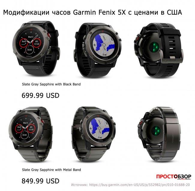 Цены и внешний вид модели часов Garmin Fenix 5X