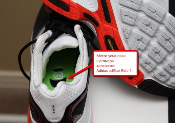 Место установки шагомера Garmin Footpod в кроссовки Adidas AdiStar Ride 4