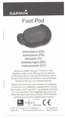 Бумажная инструкция по использованию Garmin Foot pod