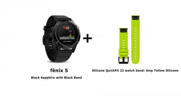 Модель часов garmin fenix 5 strap black yellow strap с зеленым сменным силиконовым ремешком
