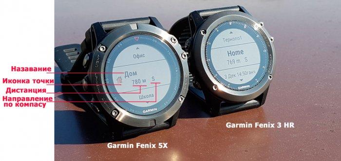 Сравнение отображение маршрутных точек в часах Garmin Fenix 5X, Fenix 3HR