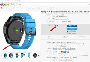 Китайский силиконовый ремешок Easy-Fit - подделка Гарминовского  QuickFit 26 Watch Band