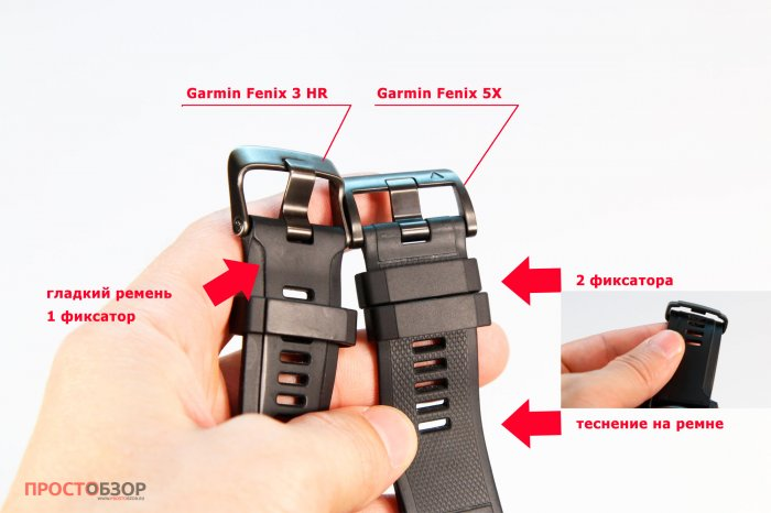 Сравнение силиконовых ремешков часов Garmin Fenix 3 HR - Fenix 5X
