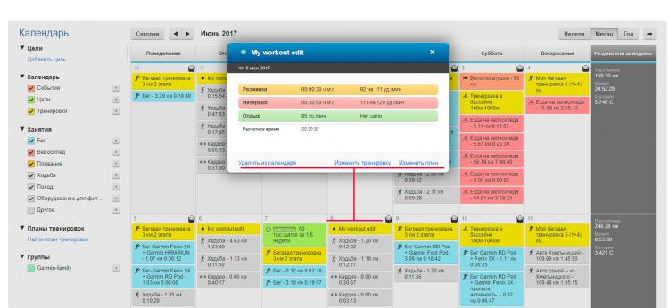 Пример тренировки по workout в Календаре Garmin