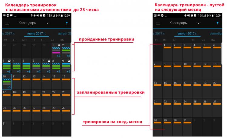 Сравнение тренировок в Календаре Garmin