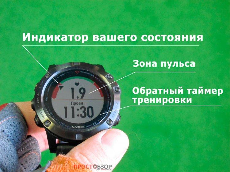 Экран проведения тренировки в часах Garmin Fenix 5 X