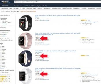 Цена часов Apple Smart Watch Series 1 - 2 на Amazon