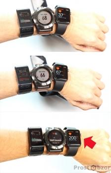 Изменение измеряемого пульса в часах Garmin Fenix 5X, Vivoactive HR, Apple Smart Watch Series 1