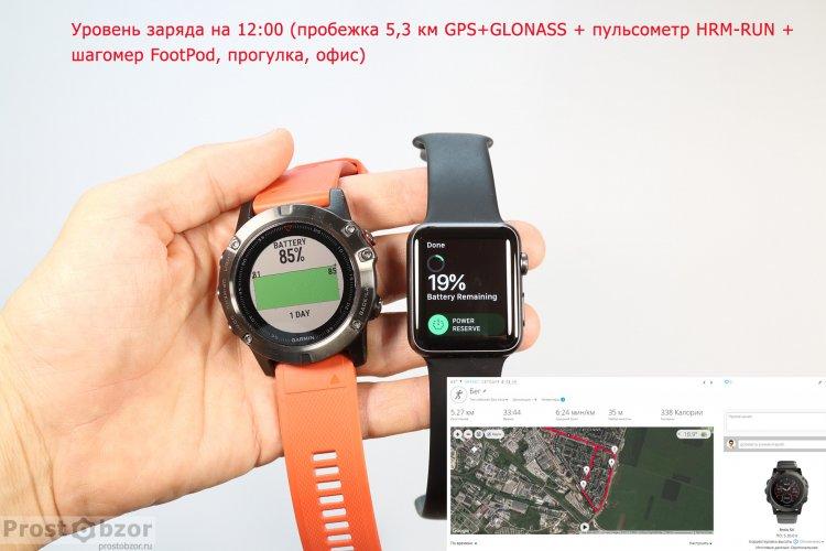 Тест аккумулятора - 100% зарядки для часов Garmin Fenix 5X, Vivoactive HR, Apple Smart Watch Series 1 после пробежки
