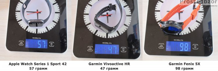 Вес часов Garmin Fenix 5X, Vivoactive HR, Apple Smart Watch Series 1