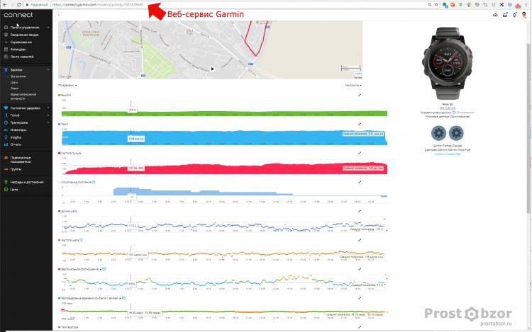 Пример спортивной активности от Garmin в Веб-броузере