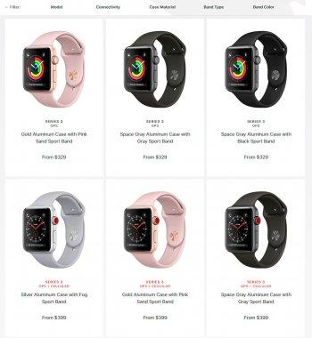 Цены на новую модель Apple Smart Watch Series 3