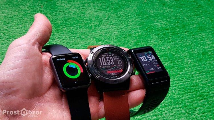 Дисплеи часов Apple Smart Watch, Garmin Fenix 5X. Garmin Vivoactiv HR