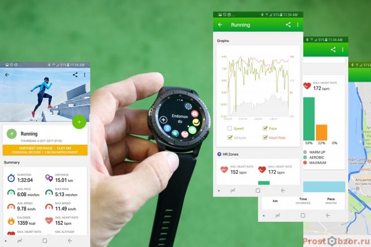 Пример данных по активности в програме endomondo на Samsung Gear S3 Frontier