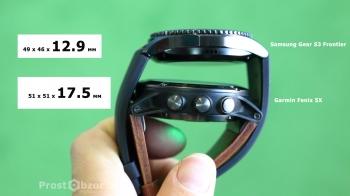 Толщина часов корпуса  Samsung Gear S3 Frontier - Garmin Fenix 5x