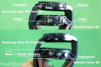 Вид сбоку: Кнопки управления интерфейсом часов Samsung Gear S3 Frontier - Garmin Fenix 5x