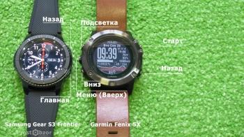 Кнопки управления интерфейсом часов Samsung Gear S3 Frontier - Garmin Fenix 5x