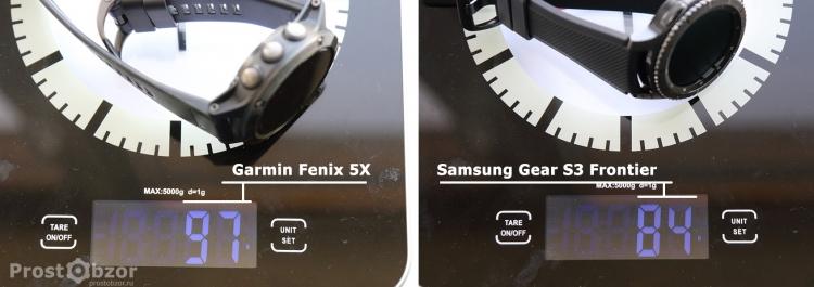 Вес часов Samsung Gear S3 Frontier - Garmin Fenix 5x