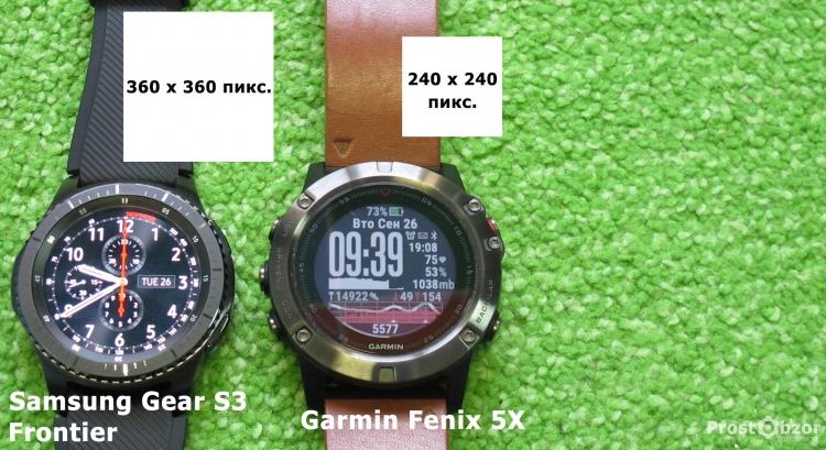 Разрешение дисплеев часов Samsung Gear S3 Frontier - Garmin Fenix 5x