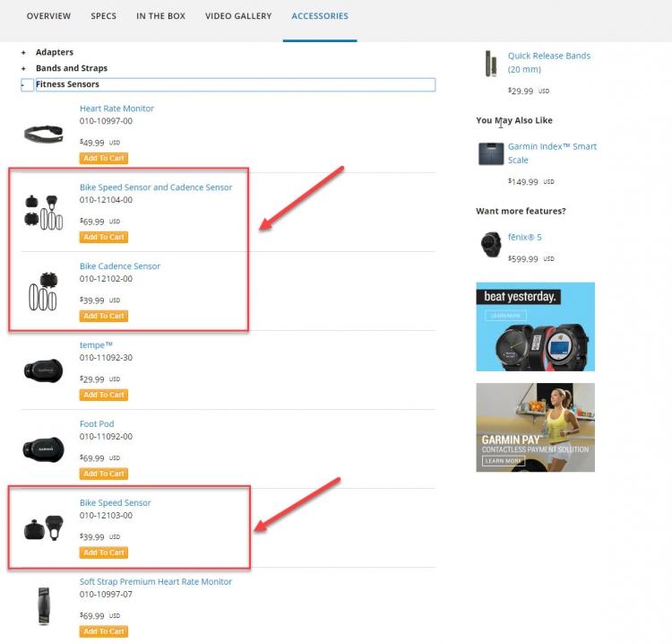 Датчики для велосипедов -  часы Garmin Vivoactive 3