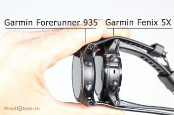 Сравнение толщины корпуса часов Garmin Fenix 5X и Garmin Forerunner 935