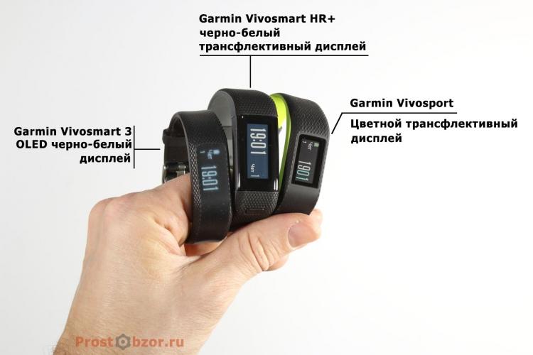 типы дисплеев трекеров |Garmin Vivo