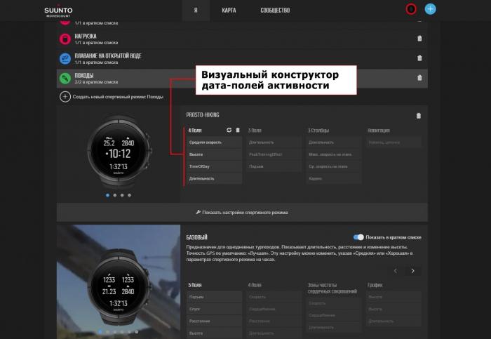 Управление дата-полями в Веб-сервисе Suunto Movescount для настройки часов