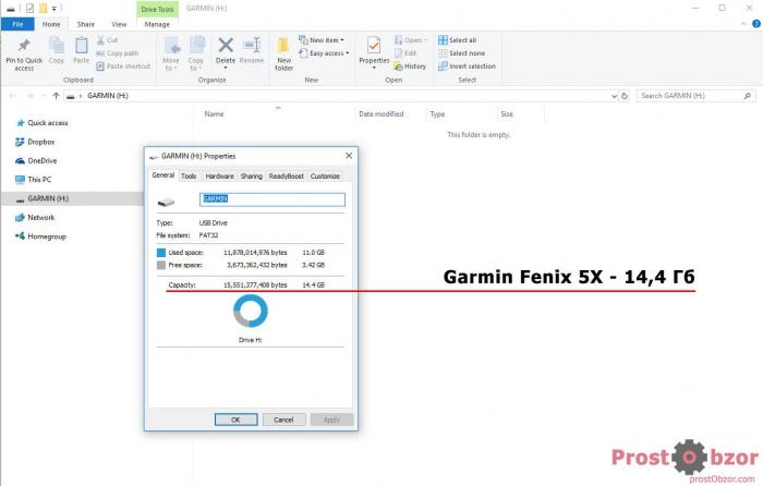 Размер памяти часов Garmin Fenix 5X
