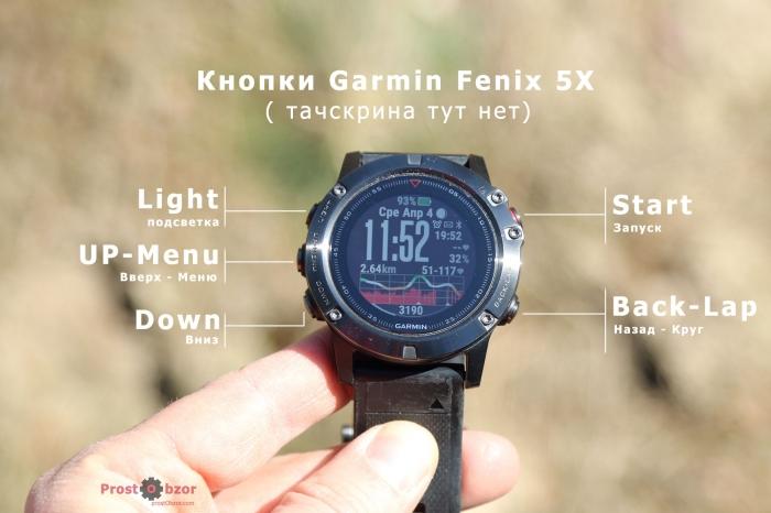 Кнопки часов Garmin Fenix 5X