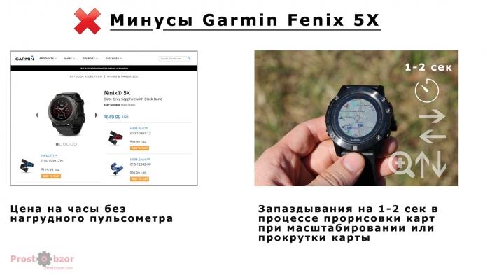 Минусы часов Garmin Fenix 5X