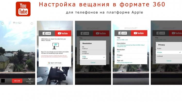 Скриншоты видео-трансляции 360 градусного видео через смартфон