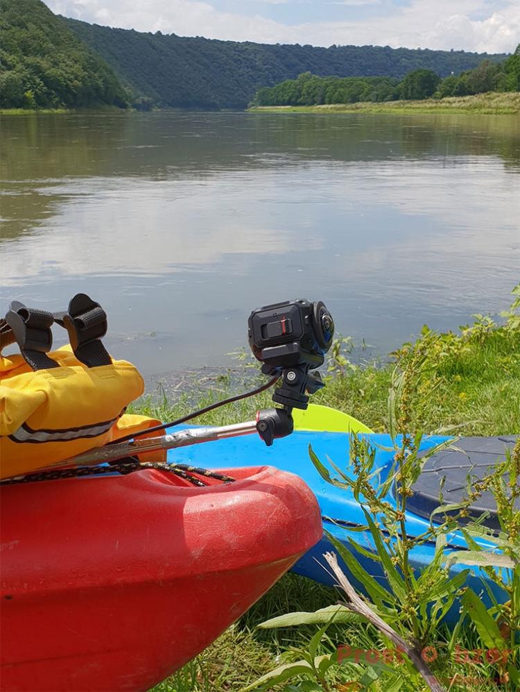 Установка экшн-камеры Garmin Virb 360 на байдарке - каяке