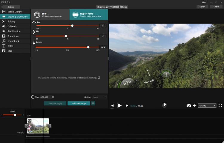 Новый режим Hyper Frame в программе Virb Edit