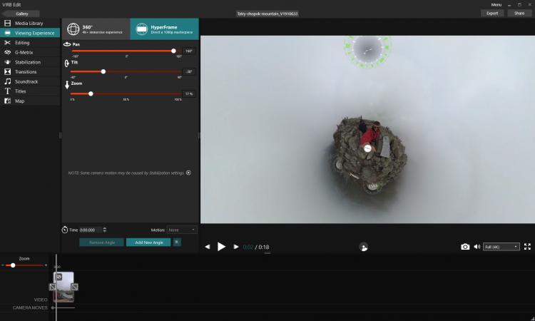 Эффект Tiny plane в программе Garmin Virb Edit