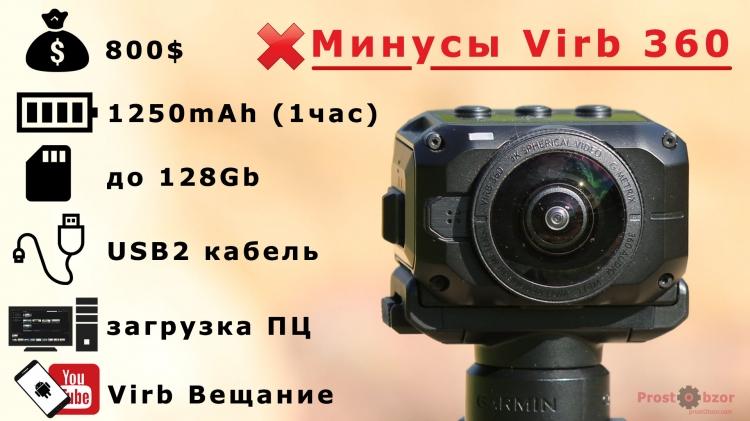 Минусы экшн-камеры Garmin Virb 360