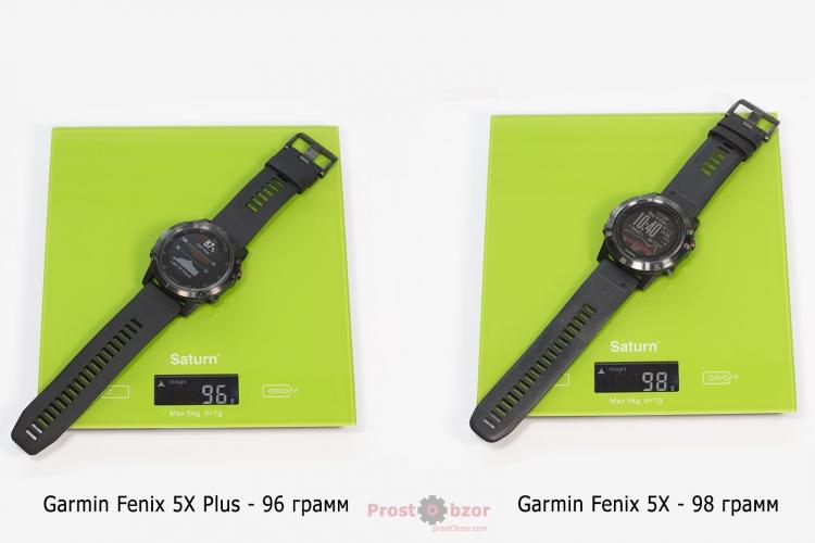Сравнительный вес часов Garmin Fenix 5X plus и Fenix 5X