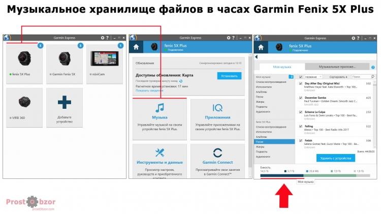 Музыкальное хранилище файлов в часах Garmin Fenix 5X Plus